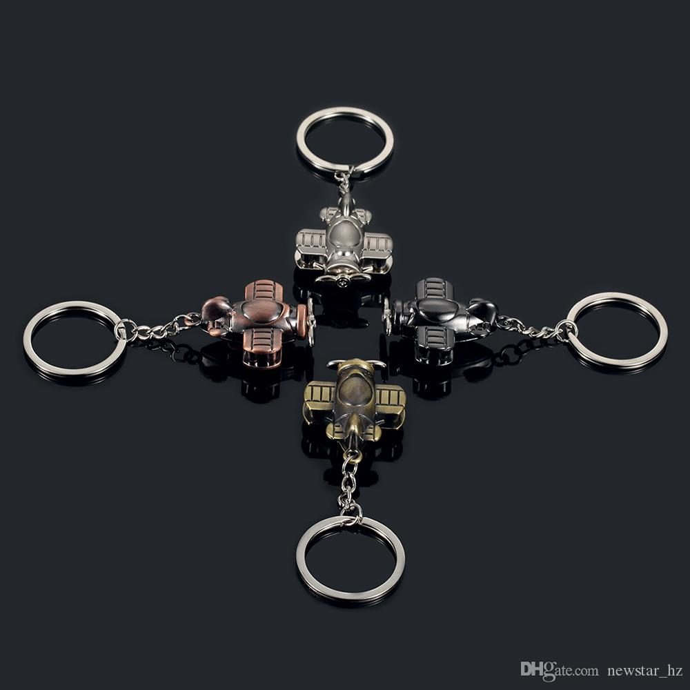 Wholesale Metal Keychains Propeller Aircraft Model Keyring Zinc Alloy Key Chain Keyfob Car Keychain Creative Gift Airplane Pendant
