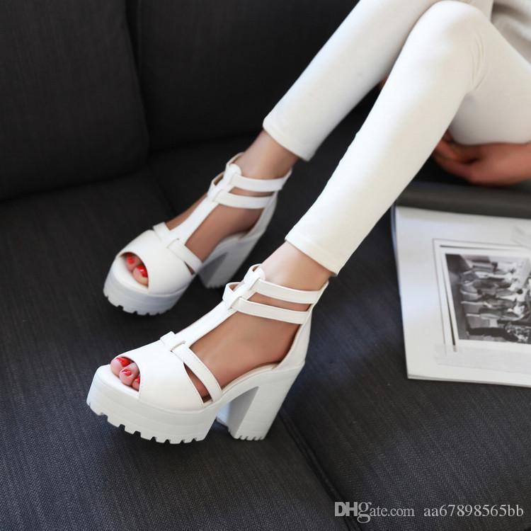 mujer damas sexy sandalias de punta abierta bloque tacones plataforma zapatos verano