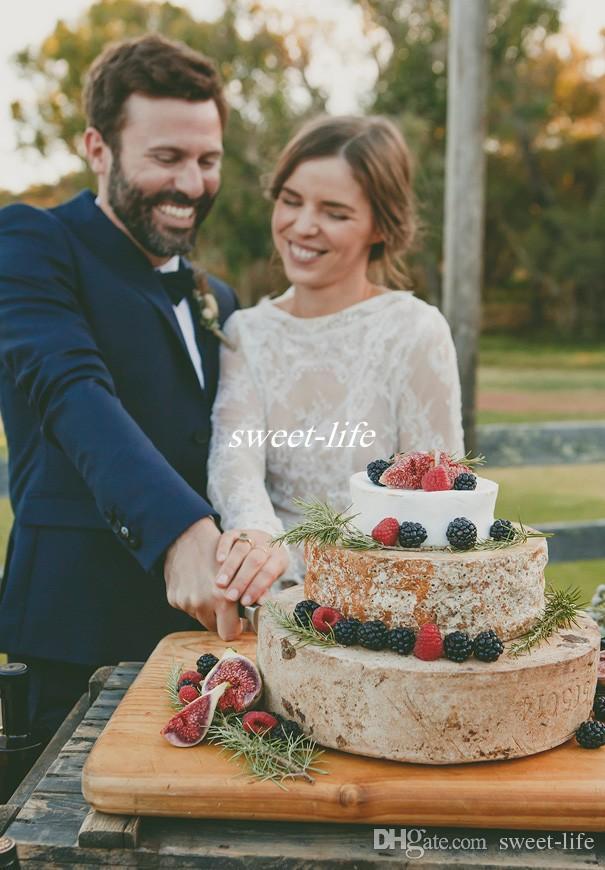 Vintage Uzun Kollu Kılıf Gelinlik Tam Dantel Bateau Kat Uzunluk See Through 2019 Bahar Güz Batı Ülke Düğün Gelin törenlerinde