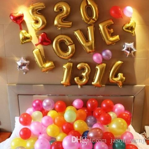 Hot Sale 16 inches Silver/Golden Letters Helium Balloons Number Aluminum Foil Balloons Birthday Christmas Decoration Wedding Air Balloon