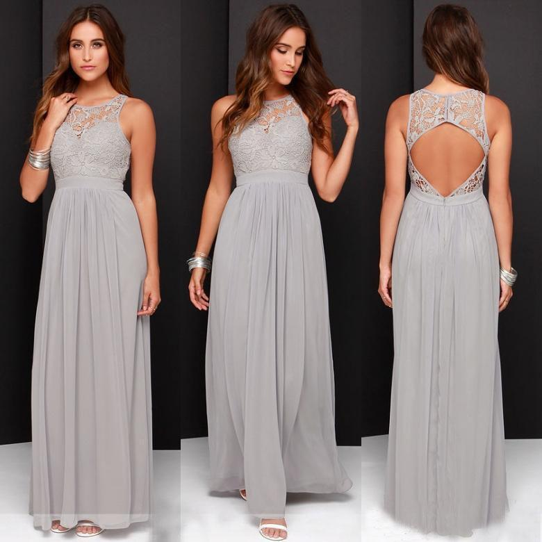 165a4400b21d Elegant Light Grey Long Lace Chiffon Bridesmaid Dresses Open Back 2017 Wedding  Party Dresses Vestido De Festa De Casamento Baby Pink Bridesmaid Dresses ...