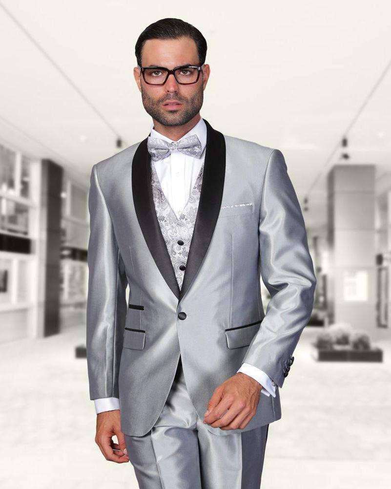 Wholesale- Shiny Silver Beach Wedding Groom Suits With Black Shawl ...
