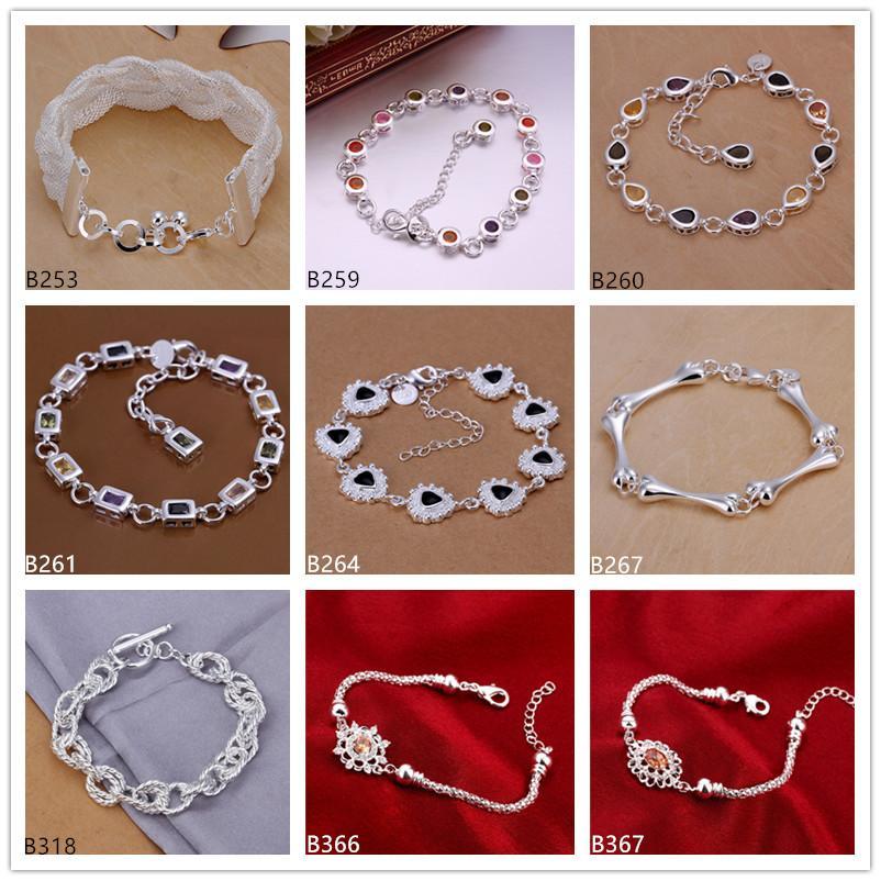 Ortak damla çiçek gümüş bilezik 8 adet karışık stil GTB21 Yeni varış en iyi hediye moda kadın taş 925 gümüş bilezik