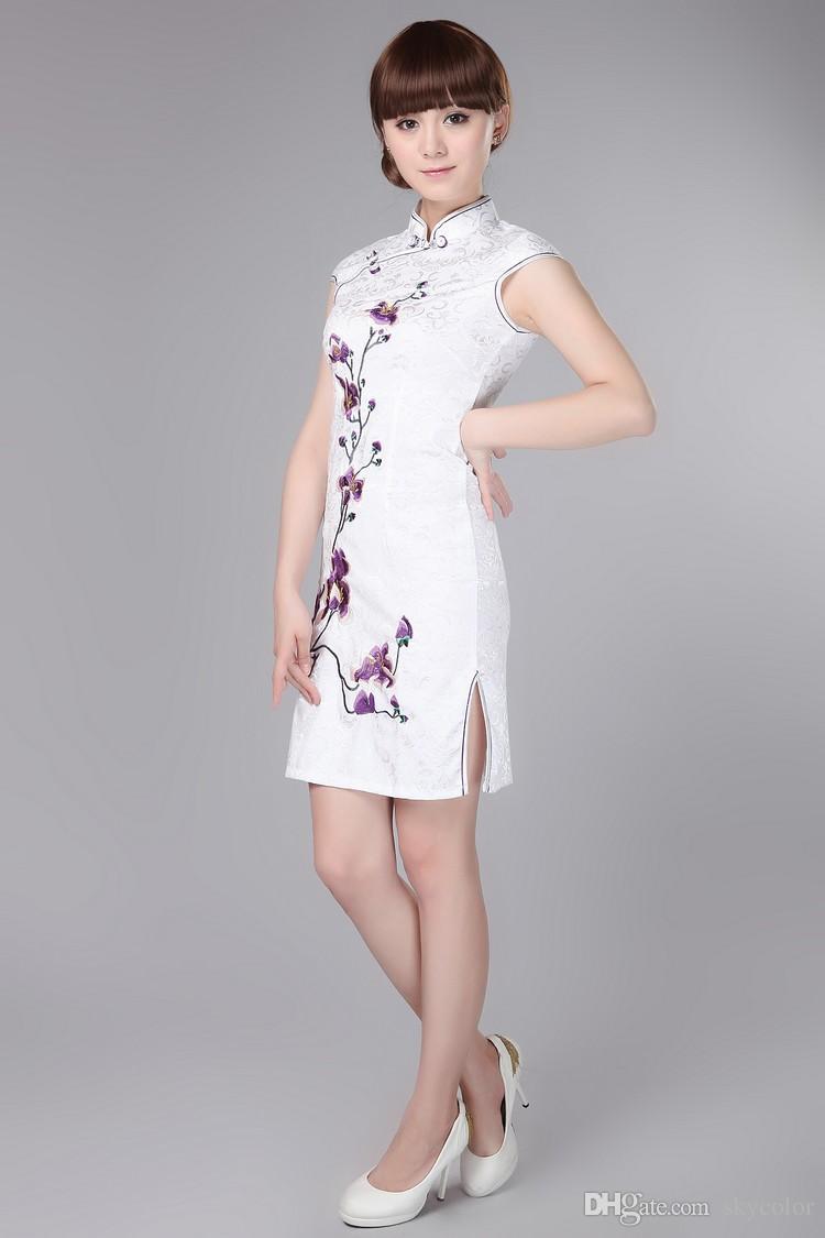 NOIR BLANC ROUGE Coton chinois Femmes Robe de broderie Cheongsam Qipao Manteau Jupe Robe de soirée Robe de mariée taille S-3XL