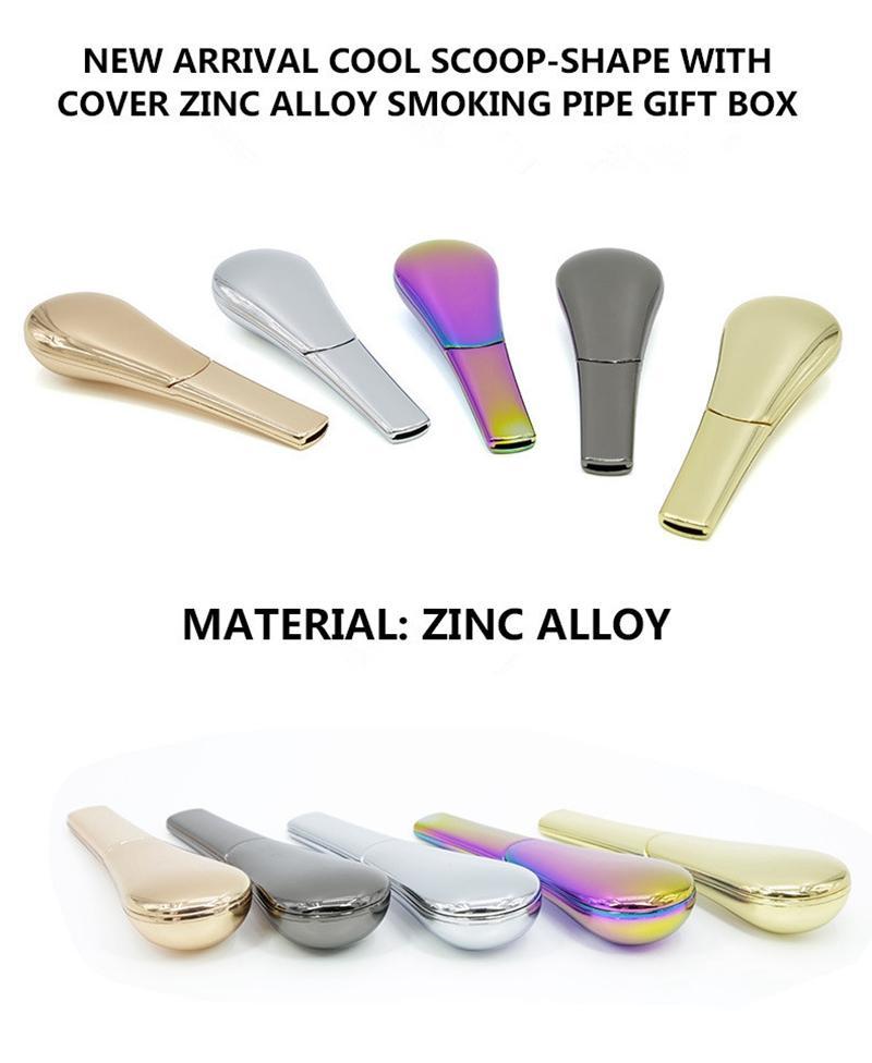 Sigaretta del tabacco dell'erba dell'arcobaleno tubo di fumo in lega di zinco 95mm lunghezza 24mm diametro tubi della sigaretta del tabacco con scatola regalo narghilè vendita