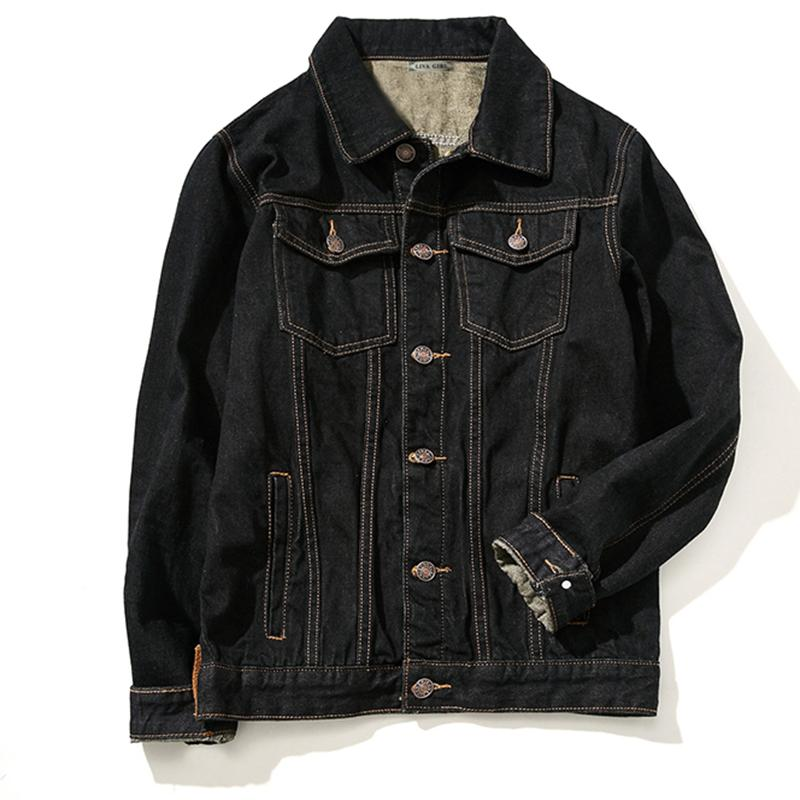 Wholesale 2016 Fashion Thick Warm Fleece Lined Denim Jacket Men