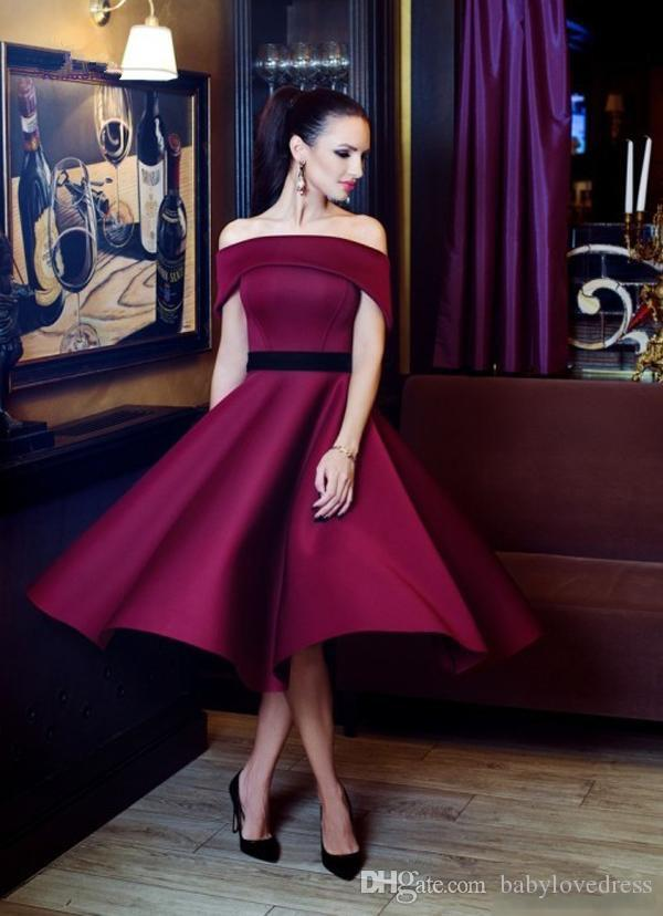 Tea Length A line Satin Homecoming Dresses Cheap With Ribbon Bateau Neck Zipper Back Miad Of Honor Party Gowns