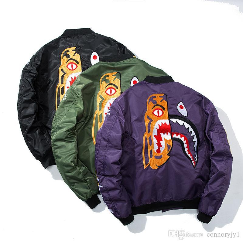 2017 NUOVO bomber da uomo Hip Hop Giacca a vento stampata nera Streetwear