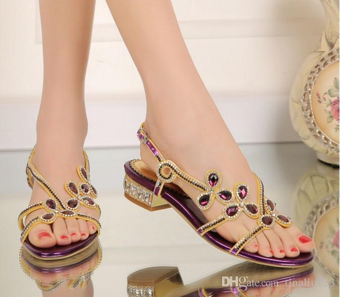 big size 34-44 women gladiator rhinestone flowers flat low heel sandals rome female summer comfortable crystal casual sandalias beach shoes