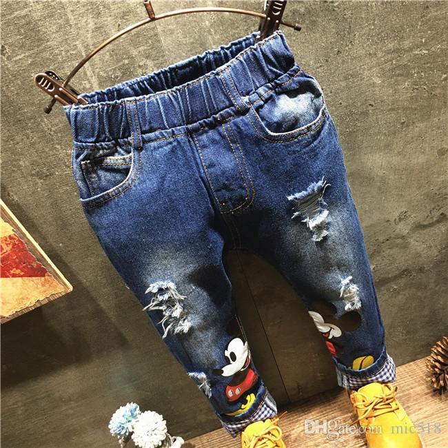 2016 Spring/Autumn Korean Children Clothes Baby Boy Pants Cartoon Pattern Hole Cotton Denim Jeans Kids Casual Trousers