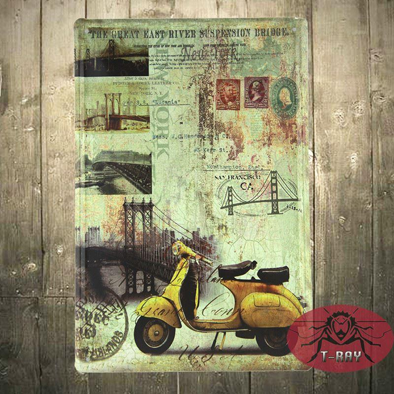 Vespa scooters wall mural painting decorative painting for Vespa decoration