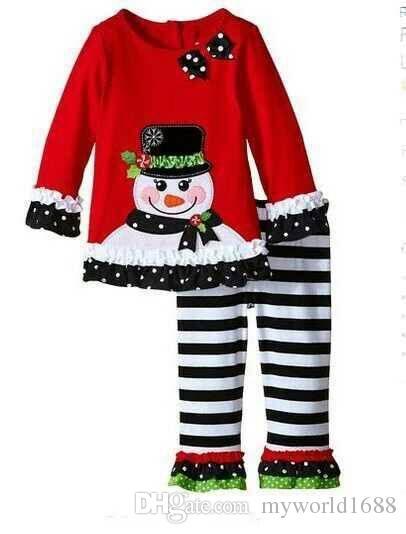 2016 baby xmas elk наряд девушки олень рождественская елка футболка + брюки с рюшами 2 шт. Комплекты детей в горошек топы дети весна осень носить наряд M8