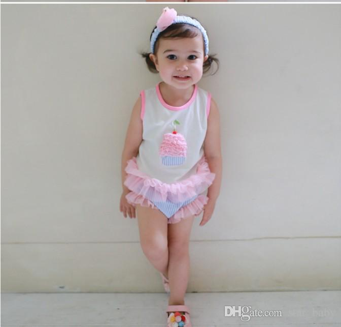 Sleeveless Cupcake Tops + Tulle Shorts + Headband Babies Girl Romper Suit Cotton Kids Clothes Baby Girls 3-piece Rompers Jumpsuit K7393