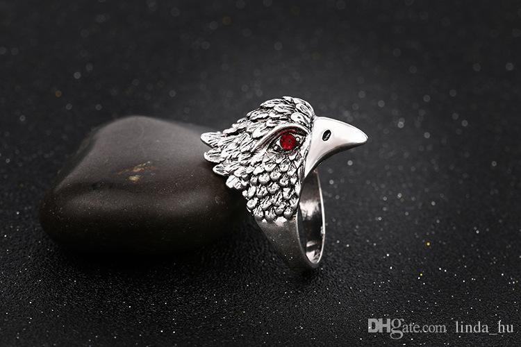 2016 moda europea y americana hot retro Antique Silver men ring dominante Eagle Head Thai Silver Ring