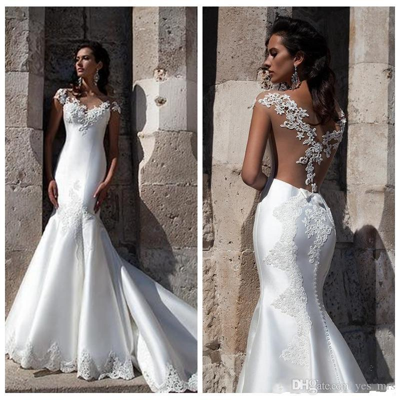 Milla Nova 2018 Mermaid Wedding Dresses V Neck Illusion Short Sleeves Lace Applique Sheer Open Back Satin Sweep Train Formal Bridal Gowns