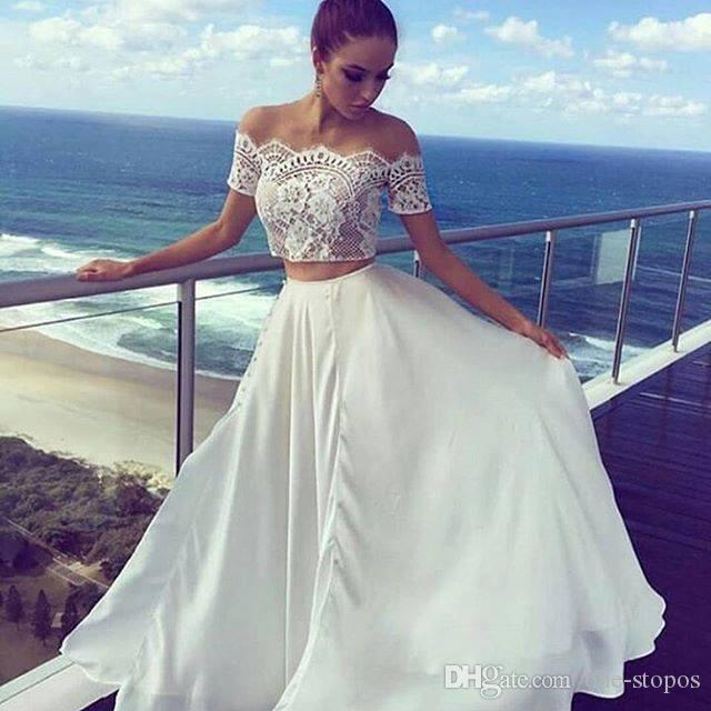 Discount Off The Shoulder Two Piece Bohemian Beach Wedding