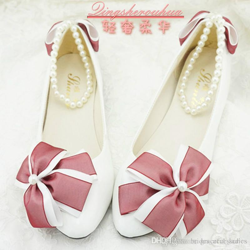White Handmade Wedding Shoes Burgundy Bow Flower Low Heel