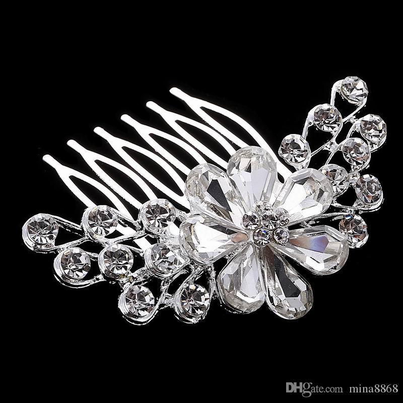 Best Deal cristallo di lusso copricapo da sposa accessori abito da sposa capelli gioielli vrystal fiore pettine prezzo all'ingrosso DHF803