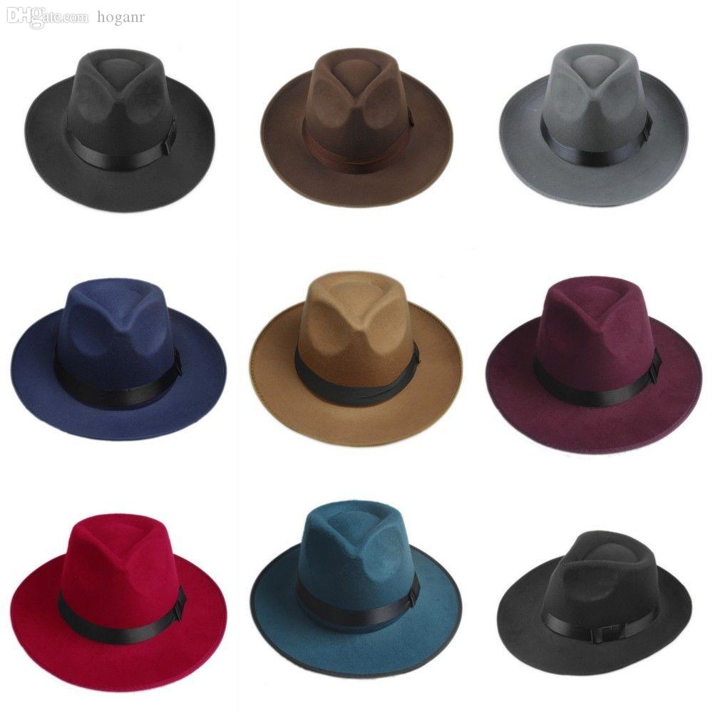 80039c486 Wholesale-Vintage Men Women Hard Wool Felt Hat Wide Brim Fedora Trilby  Panama Hat Gangster Cap