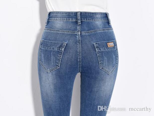 Flare Hosen für Frauen plus Größe Denim Jeans beiläufige Herbst Frühling neue Mode in voller Länge hohe Taille Baumwollmischung Hose weiblich tyn0708