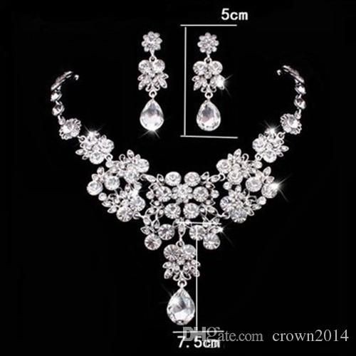 2019 Hot Selling Women Fashion Korean Style Crystal Wedding Earrings Adjustable Pendant Necklace Bridal Jewelry Set Cheap