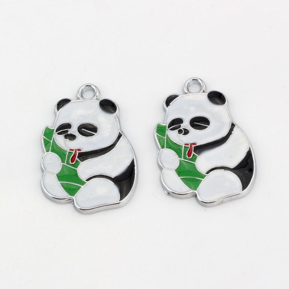 Hot ! Enamel Panda eating bamboo shoots Charm Pendant 19X 28 MM DIY Jewelry