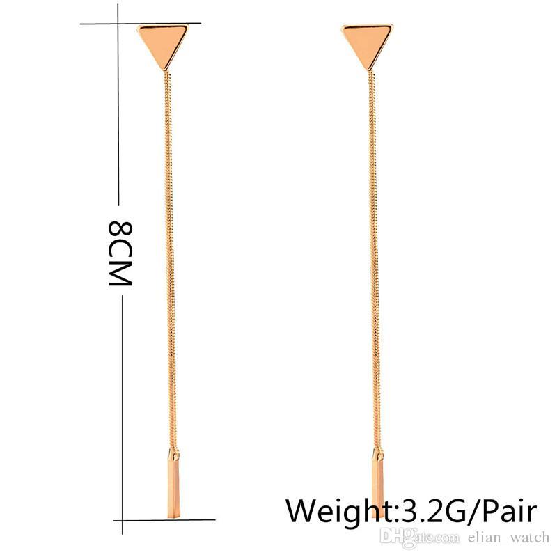 Nuevos aretes largos de moda de la joyería del verano para la mujer Pendientes bordados de la cadena del metal geométrico de la declaración Pendientes del perno prisionero