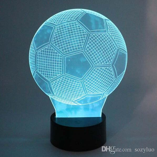 Creative 3D Soccer Ball Light Football RGB Colors Changing Visual Led Night Light Novelty Table Lamps Created LED Christmas Child Toy Gifts