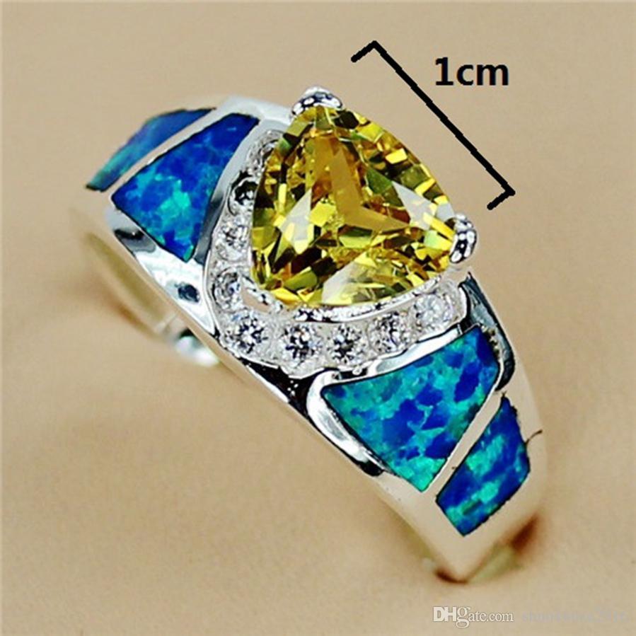 Anneaux plaqués rhodium cuivrés Zircon cubique jaune et opale bleue MN746 sz # 6 7 8 9 Noble Critiques généreuses Rave Nouveautés Nouveautés