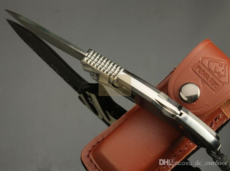 손으로 만든 DK041 DAMASCUS 접이식 칼 손으로 만든 DAMASCUS 블레이드 구리 + 호른 핸들 가죽 외장으로 고품질