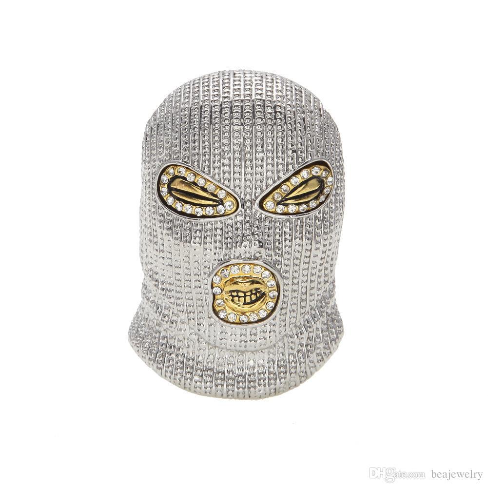 Lega 18 carati Mens collana HipHop CSGO ciondolo stile punk oro argento placcato testa maschera di fascino del pendente di alta qualità