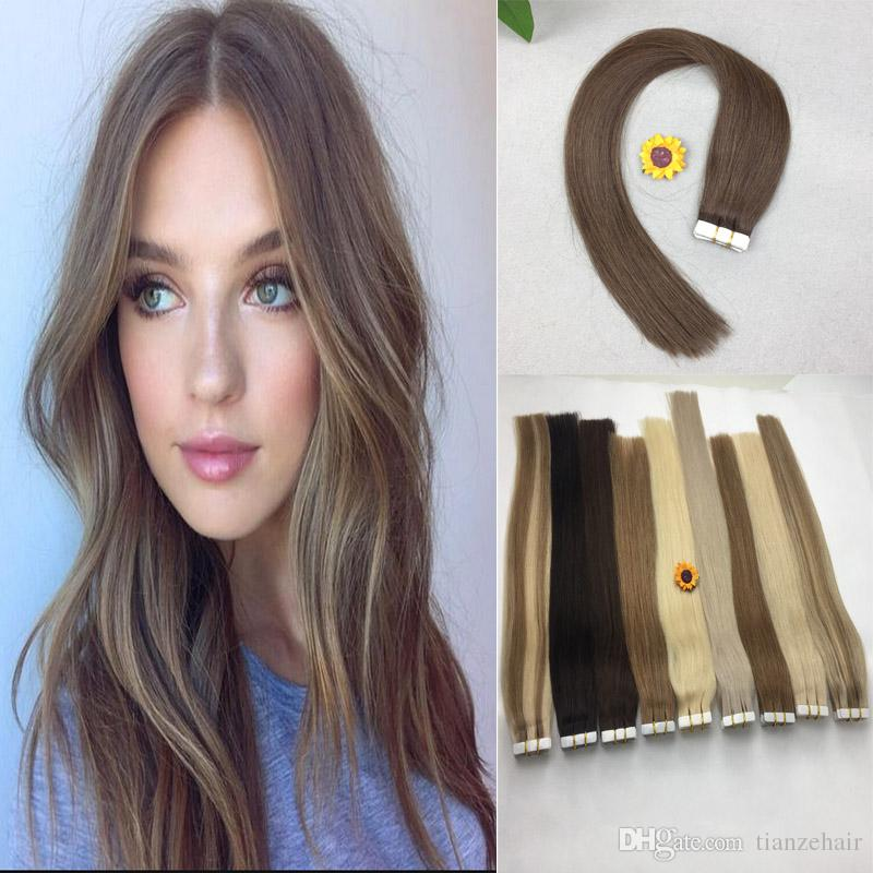 Tape In Human Hair Extensions 16 20 Inch Brazilian Virgin Human Hair