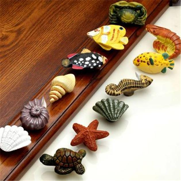 2018 Ocean Series Turtle Shell Fish Resin Handle Knobs Single Hole