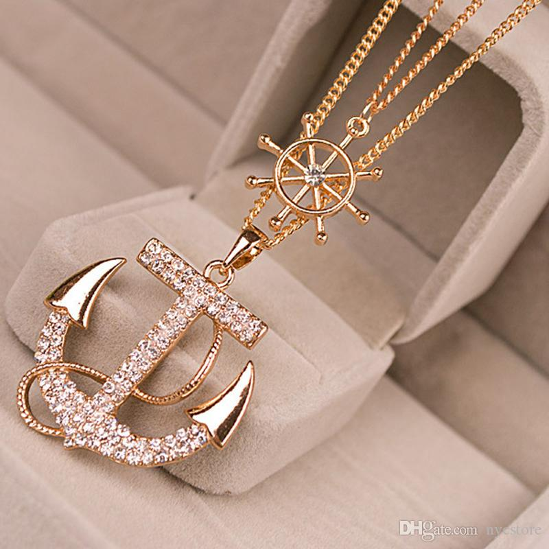 New Hot Fashion Crystal Anchor Pendant Necklace Color White Navy Style Anchor Rudder Personality Long Necklace Jewelry for woman