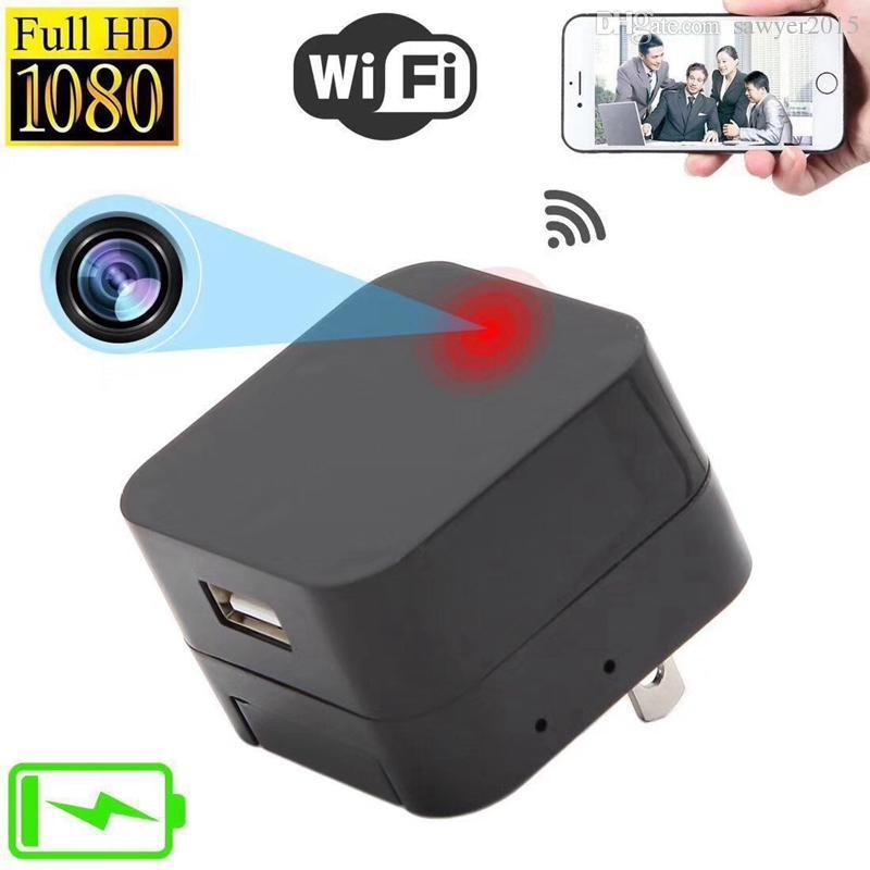 Sem fio wi-fi Tomada Câmera IP HD 1080 P H.264 carregador de parede DVR Carregador de Parede Câmera USB Adaptador de Segurança Casa tomada de Câmera