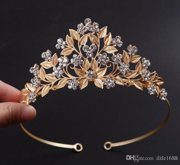 Gold Designer Wedding Bridal Bridesmaid Crystal Rhinestone Forehead
