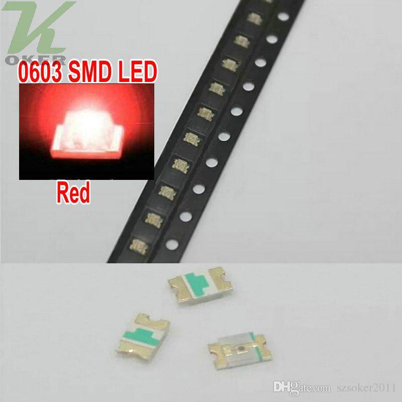 4000 pçs / reel smd 0603 vermelho led lâmpada diodos ultra brilhante