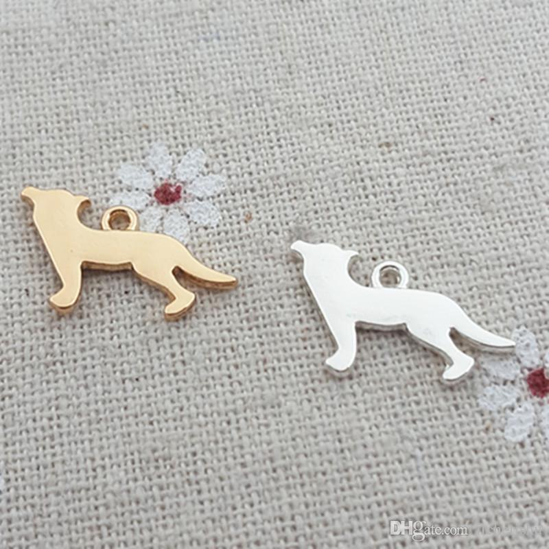 6f38518e288f3 20pcs 11*20MM Metal 18K gold silver German Shepherd Dog charms pet animal  pendant for bracelet necklace earrings jewelry making Diy