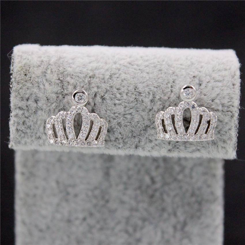 Almei 15%Off Silver Color Crown Earrings For Women Crystal Jewelry With White Stone Stud Earring Gifts Ohrring Ear Cuff PR848
