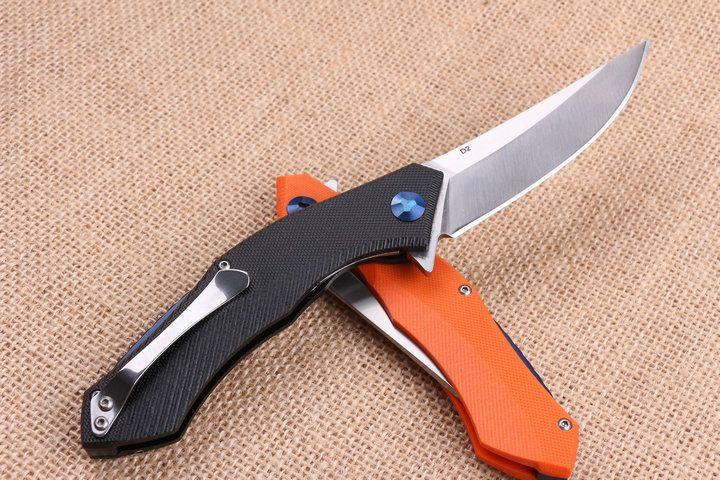 2017 New Arrival Classic Flipper Folding knife 440C 58HRC Satin Blade G10 Handle EDC Pocket folding knife Gift knives Liner Lock