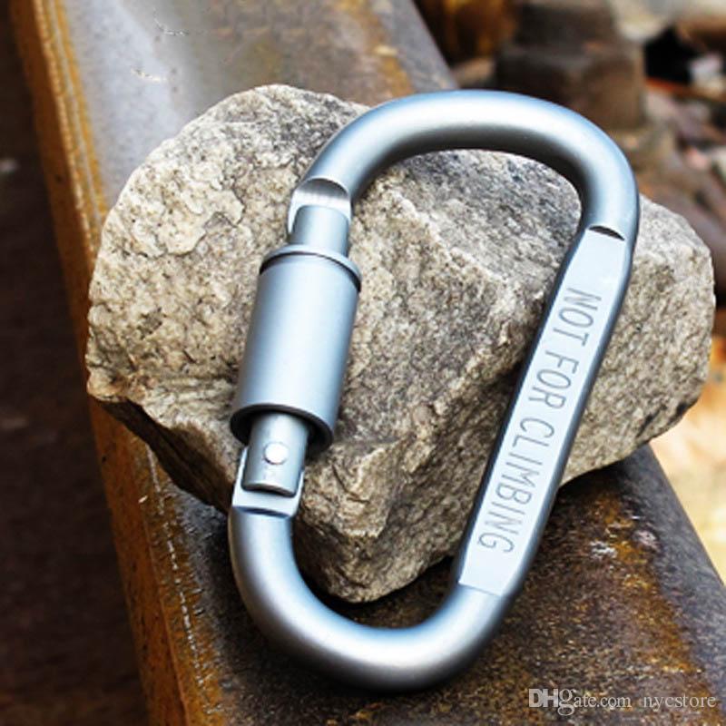 20 teile / los Outdoor Sicherheit Schnalle Aluminiumlegierung D Form Klettern Taste Karabiner Snap Clip Haken Keychain Schlüsselanhänger Karabiner Camping Wandern