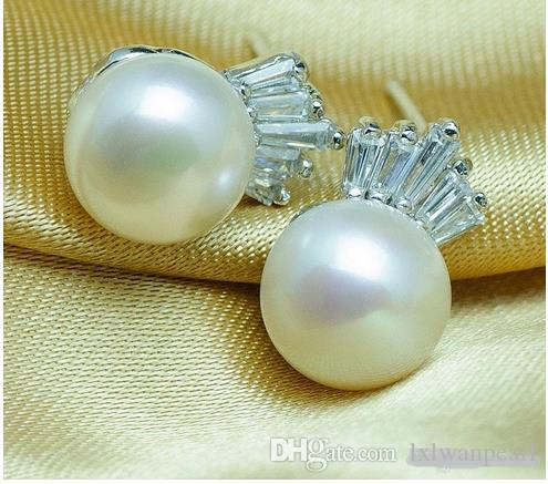 100% naturali 7-8mm orecchini di perle orecchini in argento sterling 925 orecchini alla moda 2016 perle d'acqua dolce di marca fine gioielleria