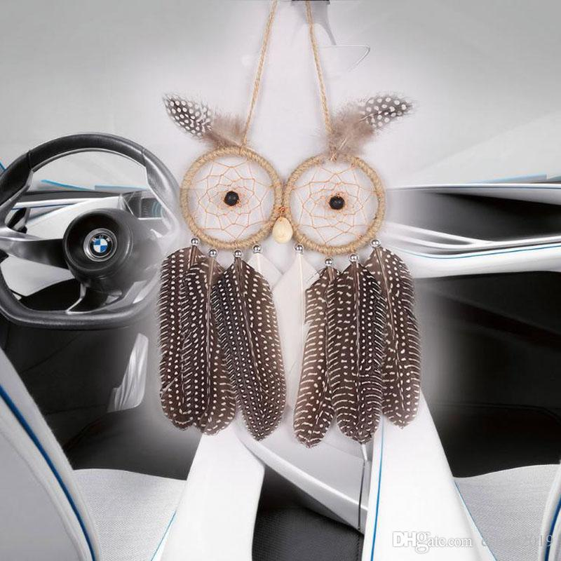 2017 Hot Wall Hanging Dream Catcher Car Hanging With Owl Feather Decoration Linen Wind Chime Hanging Home Decor Decoration