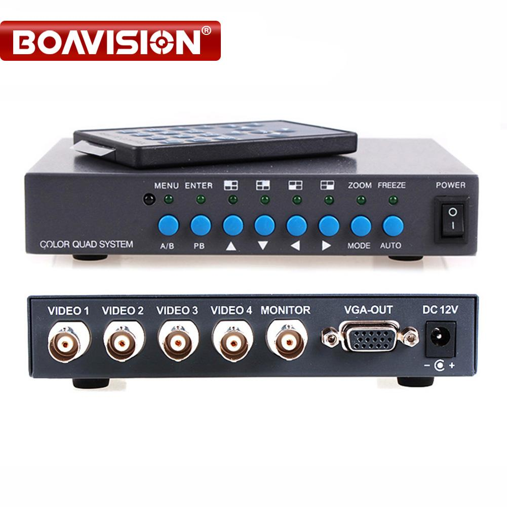 4ch Color Video Quad Splitter Processor Vga Out 4 Channel Digital To Bnc Adapter Switcher For Cctv System