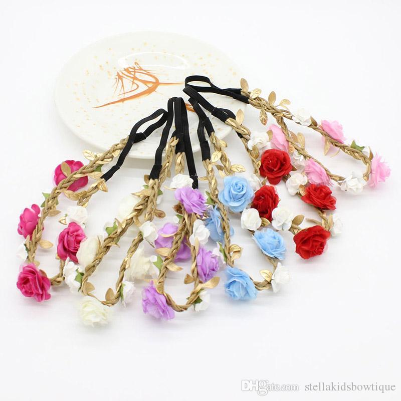 New Posh Europe Princess Roses Garlands Children Elastic Hair Accessories Wedding Party Flower Girls Adjustable Headband