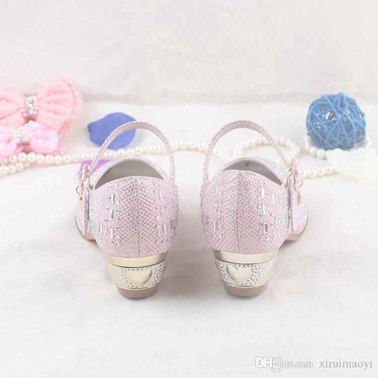2016 neue Casual Kinder Sandalen Mädchen In High Heels Prinzessin Strass Schuhe Kinder Schuhe Weiße Blume Hochzeit Schuhe Größe 26-37