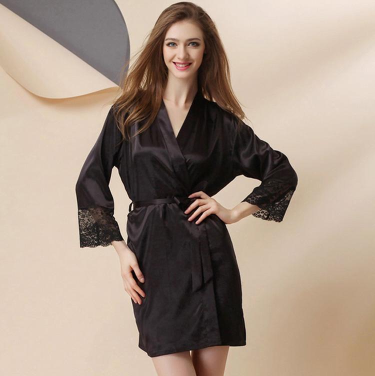 2018 Wholesale Silk Satin Kimono Robe Long Sleeve Bathrobe Fashion ...