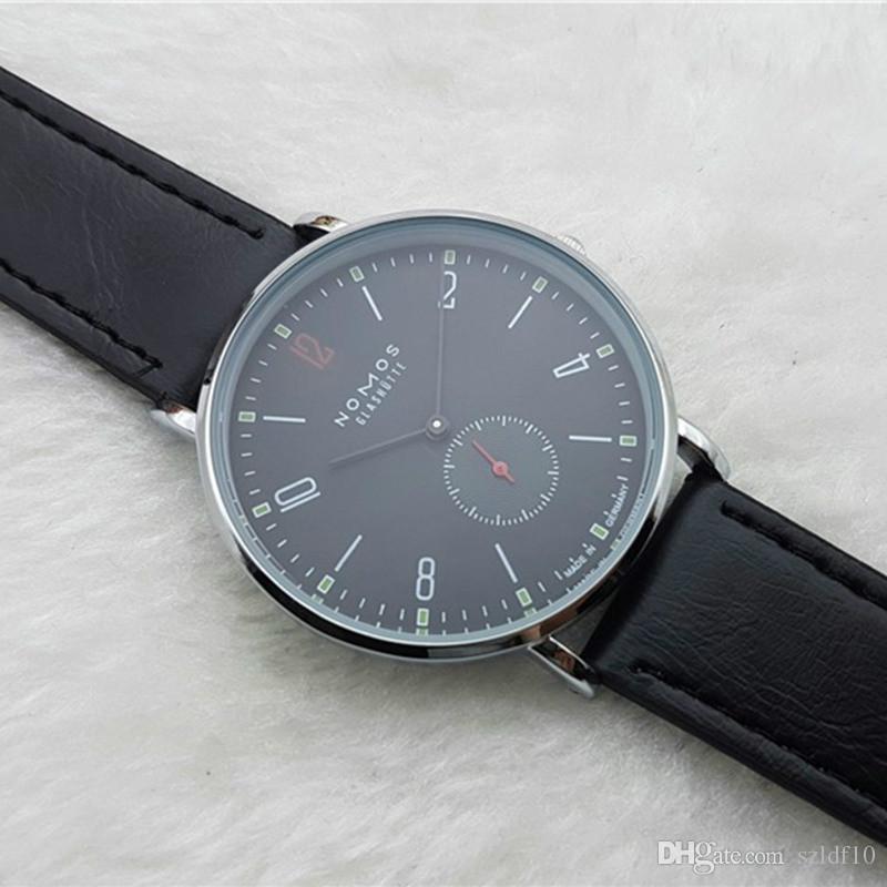 2016 любителей New Brand Номос Кварцевые часы Женские часы Мужские часы платье кожаное платье Наручные часы моды случайные часы