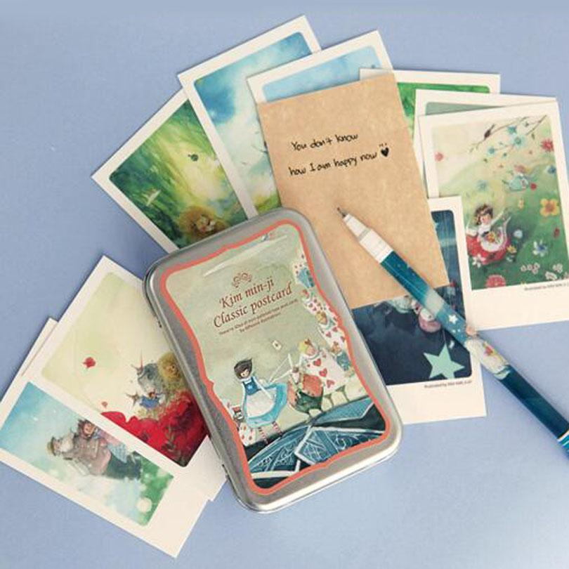 Wholesale alice tin box greeting cards set mini retro postcards wholesale alice tin box greeting cards set mini retro postcards european classical style cards invitations hg011 greeting cards box greeting cards retro m4hsunfo