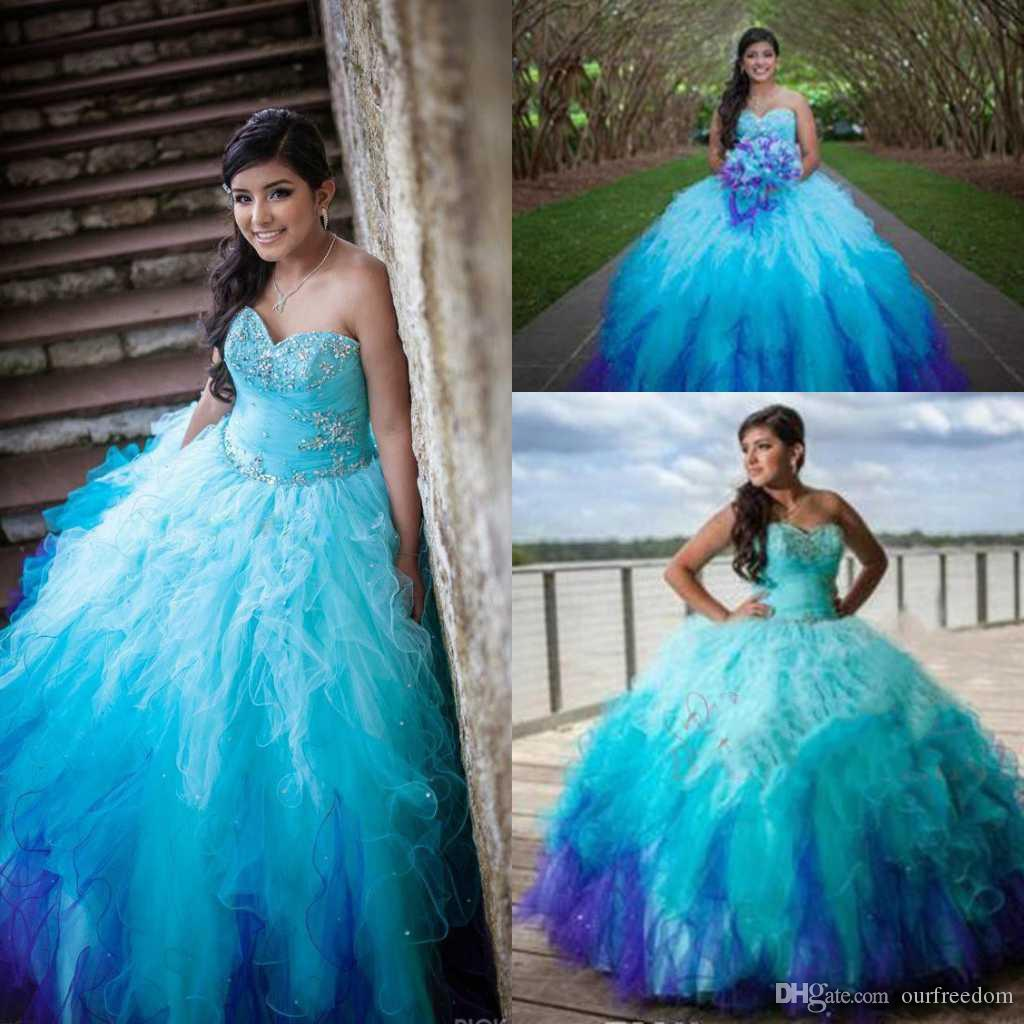 fc30dd3df3f Blue Sweetheart Rainbow Colored Quinceanera Dresses 2016 Crystal Beading  Tulle Ruffle Skirt Ombre Sweet 15 Ball Gown Puffy Long Prom Gowns Ball Gown  Junior ...